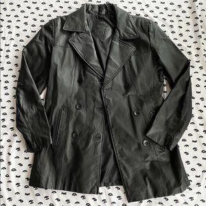 Vintage Genuine Leather Blazer Jacket